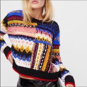 Free People retro colorful fun sweater